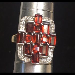 Art Deco Garnet and White Zircon Ring